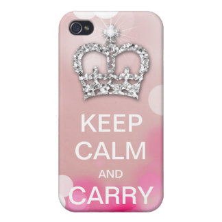 Keep Calm and Carry On Fashion Crown Sparkle iPhone 4/4S Cover