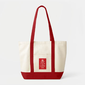 Keep Calm And Carry On: Fire Engine Red Impulse Tote Bag
