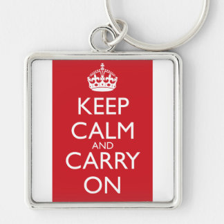 Keep Calm And Carry On: Fire Engine Red Keychain