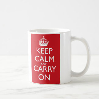 Keep Calm And Carry On: Fire Engine Red Mug