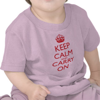 Keep Calm and Carry On Fire Engine Red Text Tees
