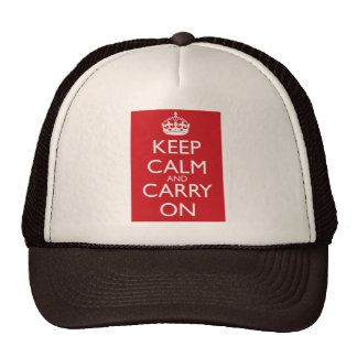 Keep Calm And Carry On: Fire Engine Red Trucker Hat