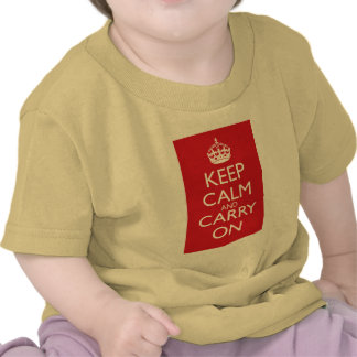 Keep Calm And Carry On: Fire Engine Red T-shirts