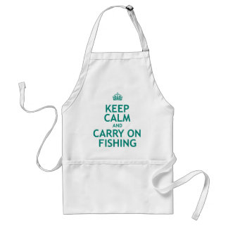 Keep Calm and Carry On Fishing Adult Apron