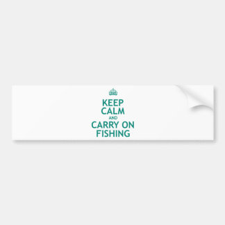 Keep Calm and Carry On Fishing Car Bumper Sticker