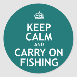 Keep Calm and Carry On Fishing Classic Round Sticker
