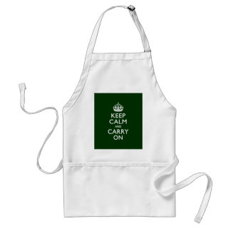 KEEP CALM AND CARRY ON Forest Green Adult Apron