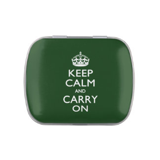 KEEP CALM AND CARRY ON Forest Green Jelly Belly Tin