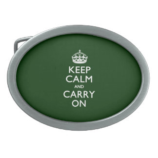 KEEP CALM AND CARRY ON Forest Green Oval Belt Buckle