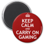 Keep Calm and Carry On Gaming 2 Inch Round Magnet