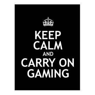 Keep Calm and Carry On Gaming Postcard