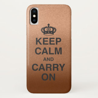 KEEP CALM AND CARRY ON / glitter iPhone X Case