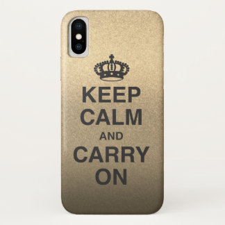 KEEP CALM AND CARRY ON / gold glitter iPhone X Case