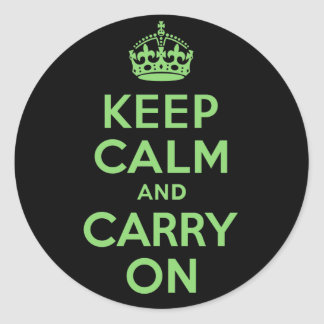 Keep Calm And Carry On Green and Black Classic Round Sticker
