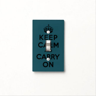 keep calm and carry on -   green and black light switch cover
