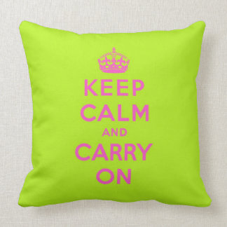 keep calm and carry on -  Green and pink Throw Pillow
