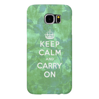 Keep Calm and Carry On Green Floral Samsung Galaxy S6 Cases