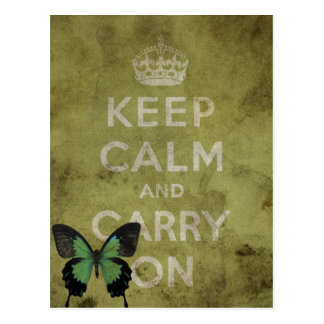 Keep Calm and Carry On Green Grunge With Butterfly Post Card