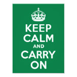 Keep Calm and Carry On Green 6.5x8.75 Paper Invitation Card