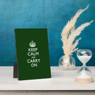 KEEP CALM AND CARRY ON Green Plaque