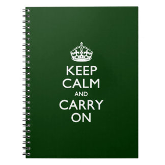 KEEP CALM AND CARRY ON Green Spiral Notebook