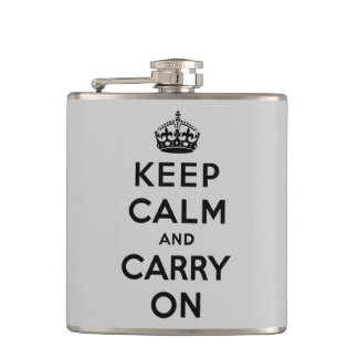 keep calm and carry on -  grey and black flask