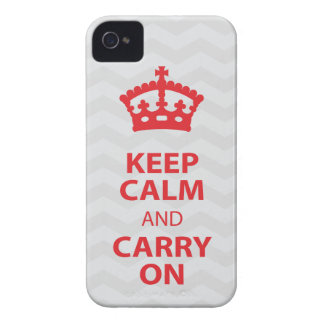 KEEP CALM and CARRY ON, Grey/Red iPhone 4/4s iPhone 4 Cover