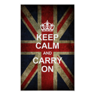 Keep Calm and Carry On - Grunge British Flag Poster