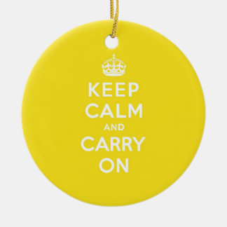 Keep Calm and Carry On Hansa Yellow Med White Text Ceramic Ornament