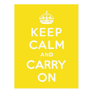 Keep Calm and Carry On Hansa Yellow Med White Text Post Cards
