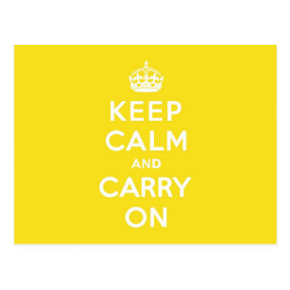 Keep Calm and Carry On Hansa Yellow Med White Text Postcard
