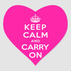 Heart Sticker with Keep Calm and Carry On (Magenta) design