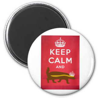 Keep Calm and Carry On Honey Badger 2 Inch Round Magnet
