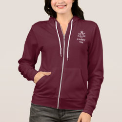 Women's Bella+Canvas Full-Zip Hoodie with Keep Calm and Carry On (Magenta) design