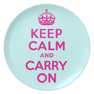 Keep Calm And Carry On Hot Pink and Teal Blue Dinner Plates