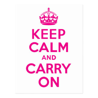 Keep Calm And Carry On Hot Pink Best Price Postcard