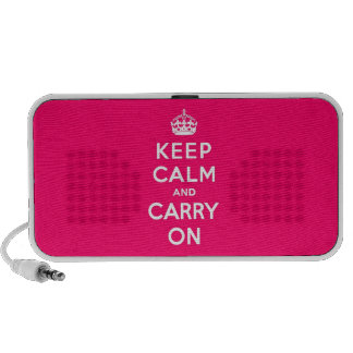 Keep Calm and Carry On Hot Pink Notebook Speakers