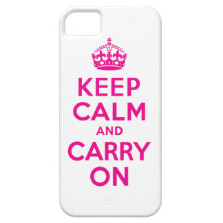 Keep Calm And Carry On Hot Pink & White iPhone 5 Cases