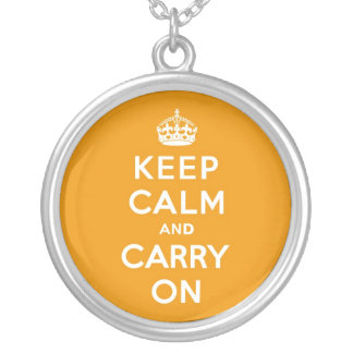 Keep Calm and Carry On Indian Yellow Round Pendant Necklace
