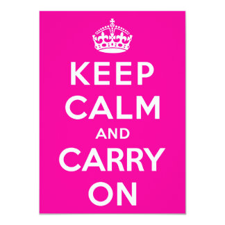 Keep Calm and Carry On 4.5x6.25 Paper Invitation Card
