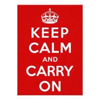 Keep Calm and Carry On Custom Invitations