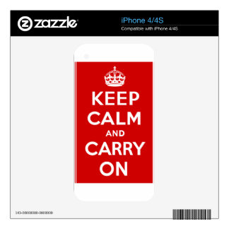 Keep Calm And Carry On iPhone 4S Decal