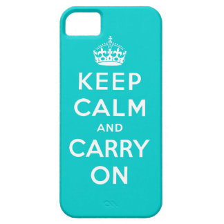 Keep Calm and Carry On iPhone 5 Case Aqua White