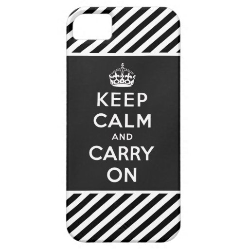 Keep Calm and Carry On iPhone 5 Case Black White