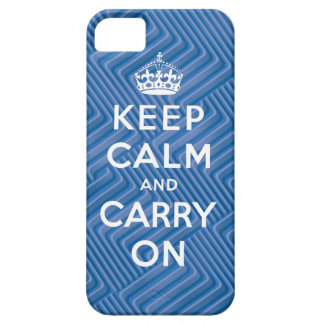 Keep Calm and Carry On iPhone 5 Case Blue
