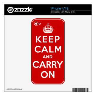 Keep Calm And Carry On iPhone Skin Skin For iPhone 4