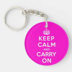 Circle Keychain (double-sided) with Keep Calm and Carry On (Magenta) design