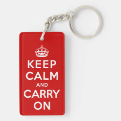 Rectangle Keychain (double-sided) with Keep Calm and Carry On (Red) design