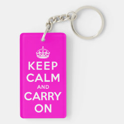 Rectangle Keychain (double-sided) with Keep Calm and Carry On (Magenta) design