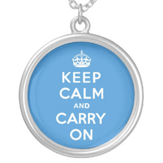 Keep Calm and Carry On Kings Blue Round Pendant Necklace